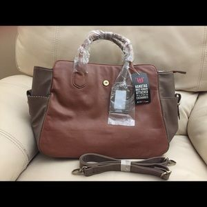 JUSTFAB Tan/Taupe Two-Tone Belt Clasp Satchel NWT
